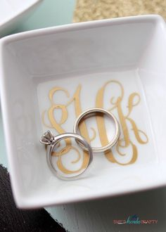 DIY Monogrammed Ring Dish - Shes {kinda} Crafty
