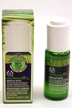 The Body Shop New Nutriganics Drops of Youth, 1 Fluid Ounce by The Body Shop. Save 47 Off!. $15.79. We use Community Fair Trade ingredients so you can feel confident with the quality of our products and this allows our suppliers to build better futures for themselves and their communities.. Best for those concerned with the first signs of aging. Nutriganics skincare line is clinically proven to reduce the appearance of fine lines and wrinkles in just 4 weeks. We have never te...