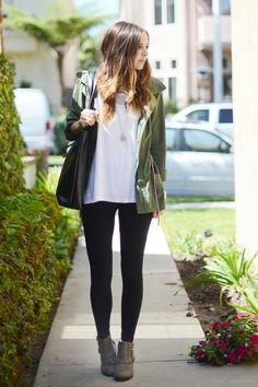 How to wear booties - Tucked - Tip#1. Most jeans aren't quite fitted enough at the ankle to allow for this look to work, so a long pair of leggings are your best bet.