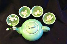 Longquan China, celadon Ge kiln tea set, mid 20th century