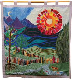 This six-foot banner was created for World Communion Sunday on October 5, 1997. The design was originally drawn in oil pastels by Dorothea B. Kennedy and was translated into fabric by Gloiela Yau Dolak. As the mountains and hills rejoice, the thirsty of all nations are invited to come to the water; the hungry are invited to come to the table. Everyone is welcome.