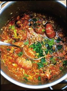Sicilian fish soup. Ingredients: red onion, celery, fennel, garlic, red chilli, olive oil, white wine, chopped tomatoes, butternut squash, fish stock, salmon, halibut, prawns, lemon, parsley. | Jamie Oliver