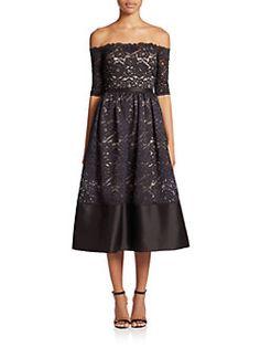 ML Monique Lhuillier - Off-The-Shoulder Lace Midi Dress