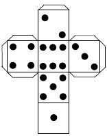 template of dice with black dots