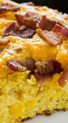 Bacon Cheddar Cornbread- super moist with crispy edges and lots of crumbled bacon and melted cheese on top.