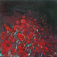 Night Roses - Acrylic on canvas (stretched canvas on a frame)