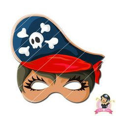 Childrens Printable Girl Pirate Mask - Red | Simply Party Supplies Printable Masks, Printables, Girl Pirates, Mask Girl, Half Mask, Printer Paper, Hole Punch, Print And Cut, Fancy Dress