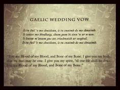 Gaelic Wedding Vow and English translation