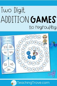 Teaching two digit addition without regrouping to your first grade students? Make learning fun with games. These addition games for two digit numbers are perfect for math centers, small groups and homeschoolers. #mathgames #doubledigitaddition
