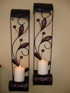 Berry, vine, leaf pillar candle sconces.
