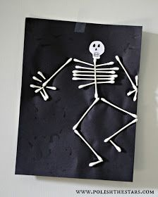 Polish The Stars: Halloween Skeleton Kids DIY Crafts with q-tips.  Fun activity for class or at home.