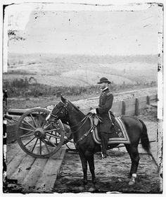 Gen. William T. Sherman on horseback at Federal Fort No. 7; Atlanta, Ga.
