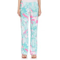 Lilly Pulitzer Georgia May Palazzo Pants ($145) ❤ liked on Polyvore featuring pants, apparel & accessories, multicolor, lilly pulitzer pants, lilly pulitzer, pull on pants, flat front pants and blue palazzo pants