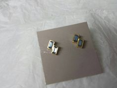 Avon Delicate Hues Blue and   Gold  finish  Pierced earrings Mint Condition 1985