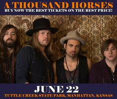 A Thousand Horses in Manhattan at Tuttle Creek State Park on June 22. More about this event here https://www.facebook.com/events/1762806254032313/