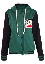 Green Hooded Long Sleeve Paul Frank Monkey Print Sweatshirt
