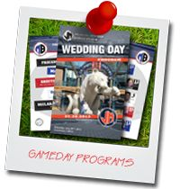 Allow our graphics department to create a custom game day program package using your personal photos.  Include your order of service along with location and mapping  information for your guests.  #stwdotcom #footballwedding