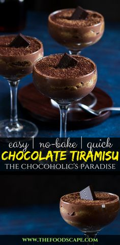 Easy No-Bake Chocolate Tiramisu, complete with coffee-soaked ladyfinger biscuits (savoiardi biscuits), layered with chocolate mascarpone cream and a dusting of cocoa powder! Absolute chocolate lover's heaven! No-bake Chocolate Dessert. The Best Ever Chocolate Dessert. Chocolate Dessert. Chocolate Cake. Chocolate Recipe. Chocolate Dessert Recipe. Chocolate Tiramisu Recipe. Tiramisu Recipe. #tiramisu #chocolate #recipe #dessert #dessertrecipes #food