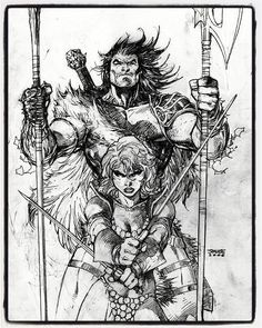 Conan The Barbarian and Red Sonja by Jim Lee.