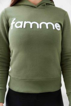 Khaki Majuscule hoodie from Famme Casual Wear, Custom Made, How To Make, How To Wear, Embroidery, Hoodies, Fabric, Sweaters, Cotton