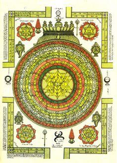 Shri Yantram with Tamil bija mantras and various inscriptions. Shiva Hindu, Hindu Rituals, Hindu Deities, Hindu Art, India World Map, Outside Wall Art, Biro Art, Shri Yantra, Krishna Statue