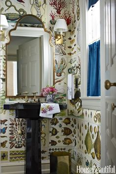 Janet Gridley Powder Room - Cabinet of Natural Curiosities pages used to create wallpaper