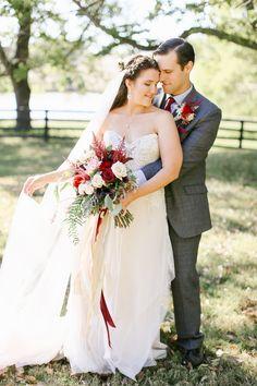 Long Veil - Fall Wedding Day - Fall bouquet & boutineer - Grey suit Groom   Larissa & Casey — Daring Tales of Darling Bones