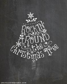 FREE Chalkboard Christmas Printables! UpcycledTreasures.com