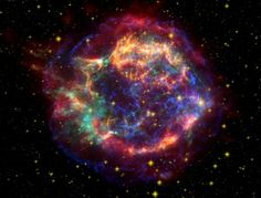Cassiopeia A is a supernova remnant. It is the strongest radio source in the sky outside the solar system and was one of the first radio sources to be discovered, in 1947. The cloud of material ejected in the explosion is about 10 light years across and is expanding at the rate of 4,000-6,000 km/s. It has a temperature of about 50 million degrees Fahrenheit.