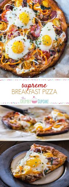 Excellent Pizza for breakfast doesn't have to mean cold leftovers – this easy Supreme Breakfast Pizza is built on a buttery crescent crust and is loaded with anything and everything your hungry morning belly can imagine! The post Pizza for breakfa . Snacks Für Die Party, Brunch Recipes, Breakfast Recipes, Breakfast Sandwiches, Breakfast Ideas, Sauce Pizza, Pizza Pizza, Pizza Party, Pizza Dough