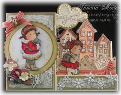 Tilda in Christmas coat from Merry Little Christmas and Ice Tilda, from Sweet Christmas Dreams, Magnolia stamps Merry Little Christmas, Christmas Cards, Side Step Card, Stepper Cards, Mo Manning, Magnolia Stamps, I Card, Decorative Plates, Greeting Cards