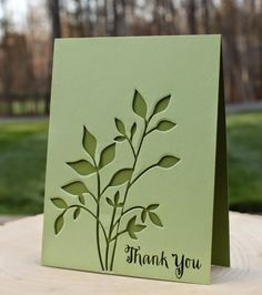 handmade thank you card from What's Next? ... green and on darker green base ... negative space die cut leafty branches ... awesome!