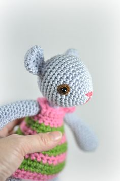 girly mouse doll in light blue cotton yarn by SoftyHandMadegoods, $57.00