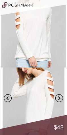 "Off White Cut Out LS So casual yet chic!! The possibilities are endless here. Pair it up with some shorts, or your favorite skinny jeans or leggings and your set!  A well fitted top, long sleeves with cutouts on the arms, round neck, and I love this soft (medium weight) fabric. Perfect for Spring & chilly summer nights.   Measurements: Medium = 28""Long 17""Chest. Approx 1"" diff between sizes All over.  Fabric: Rayon, Poly, & Spandex Made: 🇺🇸 Desired Collection Tops"