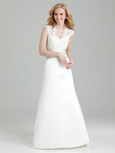 Hot Attractive A-line Wedding Dress with Embellished Neck Lacy Upper Bodice and Satin Skirt