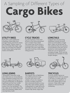 A sampling of different types of Cargo Bikes