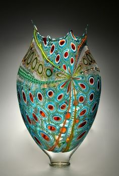 Foglio 9754 glass sculpture David Patchen--California--at TwoMoonGallery site Blown Glass Art, Art Of Glass, Glass Vase, Glass Bottle, Glass Ceramic, Mosaic Glass, Ceramic Art, Glass Marbles, Modern Glass