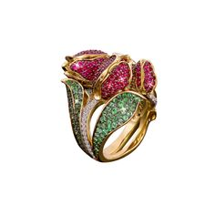 """""""Tulip"""" ring with emeralds, rubies and diamonds by Gevorgian"""