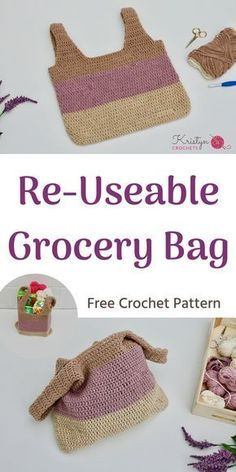 Free Crochet Pattern - Re-usable Grocery bag. This pattern is a crocheted bag shaped like a grocery sack, using all DC stitches, a great pattern for beginners!