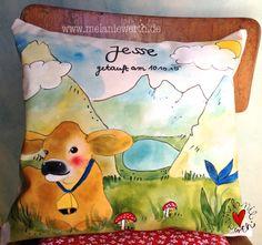 Berge Kuschelkissen aus Bio-Baumwolle für Babys und Kinder, individuelles Geschenk zur Taufe, Geschenk Patenkind, Geschenk mit Taufspruch