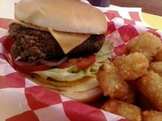 DC Burger with crispy, warm tots and TWO secret sauces! Burgers, Hamburger, Sauces, Texas, Warm, Adventure, Ethnic Recipes, Food, Hamburgers