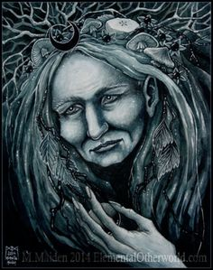 Dark Moon Crone, signed PRINT of my painting, nature, old woman, witch, pagan, faerie, faery, fairy, art, crystal ball, scrying, toadstools