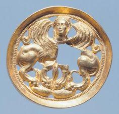 Gold medallion from Pasargik, Bulgaria. Goldsmith art. Thracian Civilization, 6th Century BC.