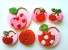 Button Cherries handmade polymer clay buttons  6  by digitsdesigns, $8.50