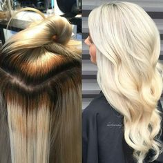 From Banded to Blonde #transformationtuesday by @hairbymonika.q (formula below) BTC is looking for transformations to post! TAG #behindthechair to be featured! HINT: Before & after pics WITH formulas get our attention! And please REPOST your PICS so they appear at the top of our #BEHINDTHECHAIR feed! This was back to back foiling with 20vol and lightener on the roots and 5 Vol and lightener on the botched blonde. My lowlight was @schwarzkopfusa 7-16 and my toner was 9-1 again using…