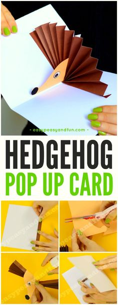 Hedgehog Pop Up Card for Kids to practice their scissors skill
