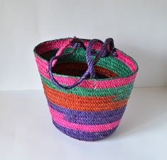Check out our handbags selection for the very best in unique or custom, handmade pieces from our shops. Basket Bag, Shopper Bag, Straw Bag, Purple, Handbags, Trending Outfits, Unique Jewelry, Balcony, Handmade Gifts