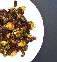 Roasted Brussels Sprouts with Baby Bella Bacon Bits - Featured November Recipe