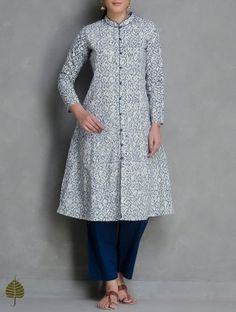 Indigo-White Kalamkari Printed Button Down Cotton Kurta by Jaypore