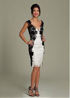 Elegant Lace V-neck Neckline Knee-length Sheath Prom Dress